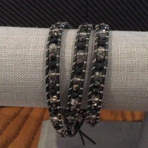 Black Crystal Beaded Wrap Bracelet